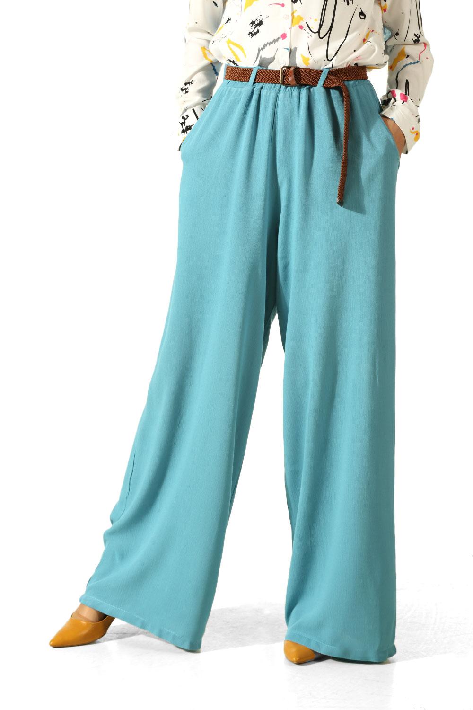 Yarım Astarlı Kemerli Pantolon