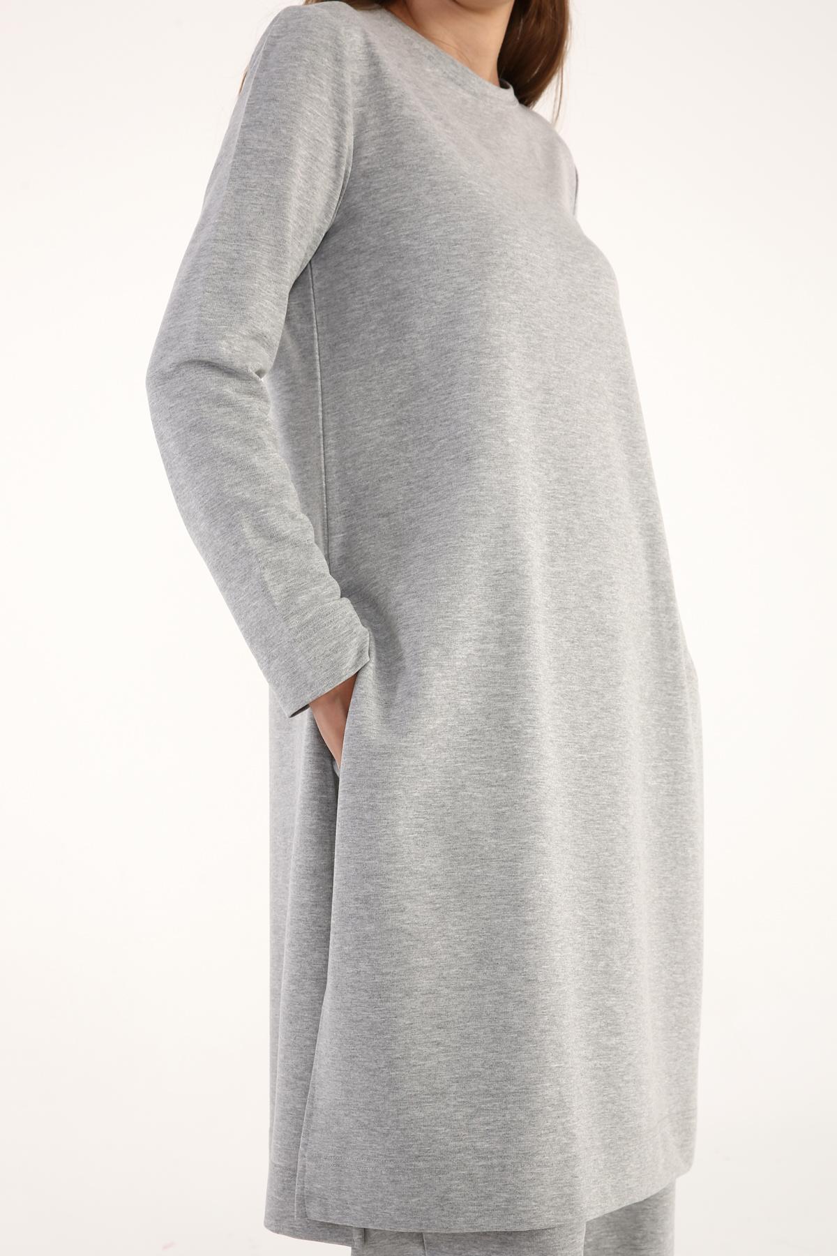 Cotton Basic Pants and Slit Detailed Blouse Set
