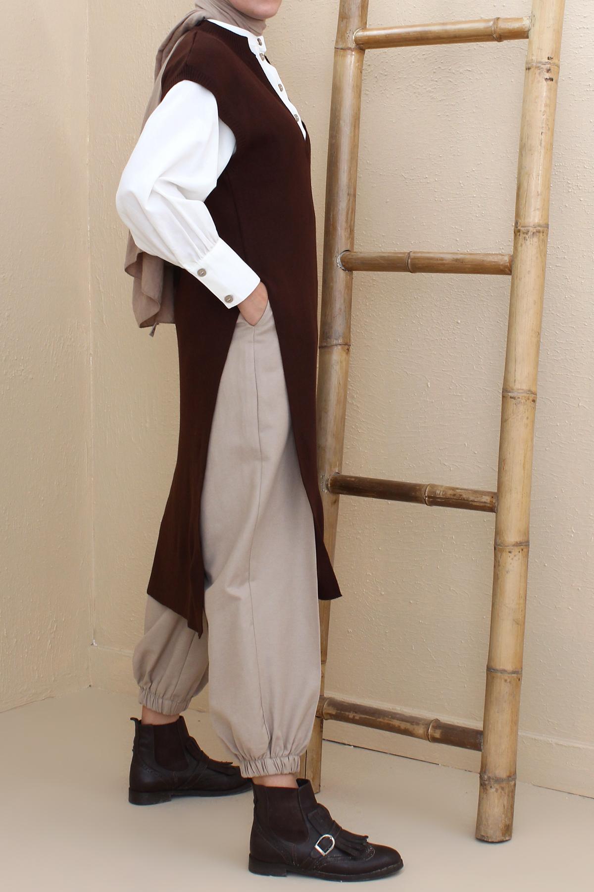Slit Detailed V Neck Knitwear Sweater