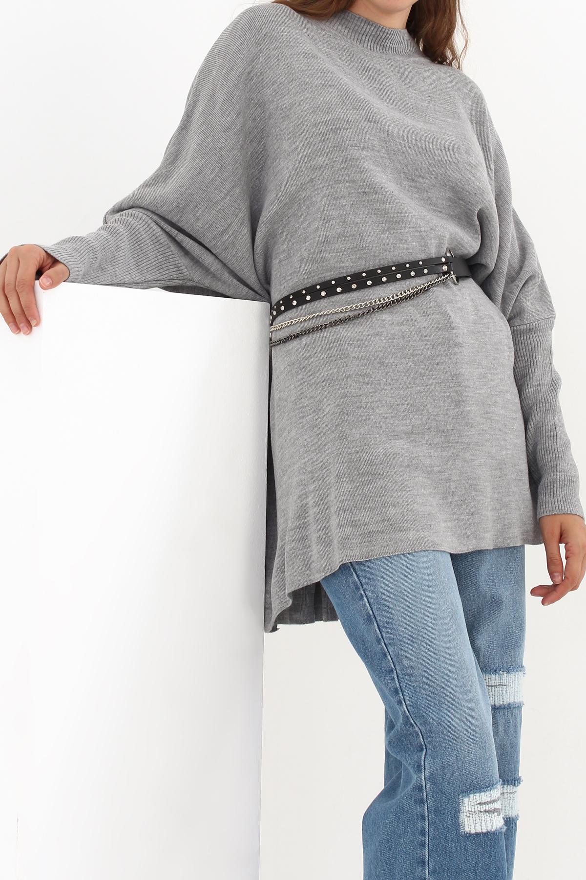 Split Hem Longline Batwing Sleeve Sweater