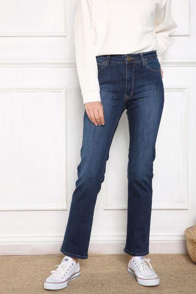 Yüksek Bel Cepli Boru Paça Pantolon