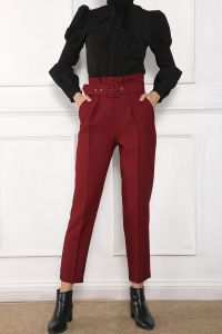Yüksek Bel Bol Paça Kemerli Pantolon