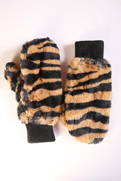 Zebra Desenli Kürklü Eldiven