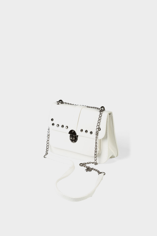 White Studded Crossbody Bag 098 015